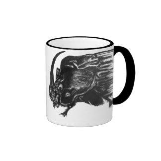 Black hand drawn rhino beetle coffee mug