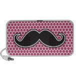 Black handlebar moustache fuchsia polka dot patter iPod speaker