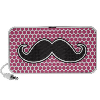 Black handlebar mustache fuchsia polka dot pattern iPod speaker