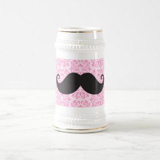 Black handlebar mustache on pink damask pattern beer steins