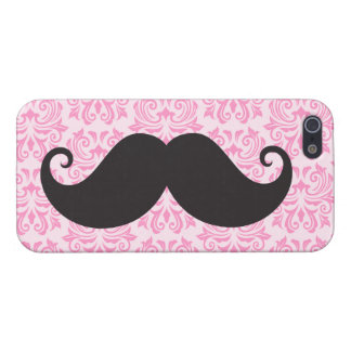 Black handlebar mustache on pink damask pattern iPhone 5/5S cover