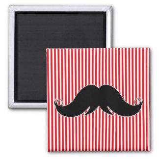 Black Handlebar Mustache on Red Stripes Fridge Magnets