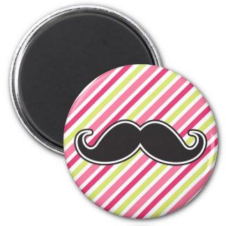 Black handlebar mustache pink lime green stripes 6 cm round magnet