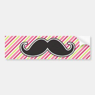 Black handlebar mustache pink lime green stripes bumper sticker