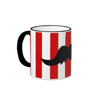 Black Handlebar Mustache w/Barber Shop Pole Ringer Mug