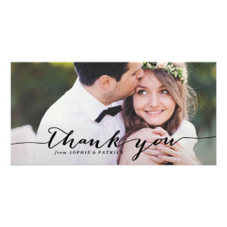Black Handwritten Script Wedding Thank You Photo Photo Card Template