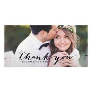 Black Handwritten Script Wedding Thank You Photo Photo Card Template