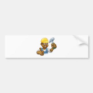 Black Handyman Cartoon Character Bumper Sticker