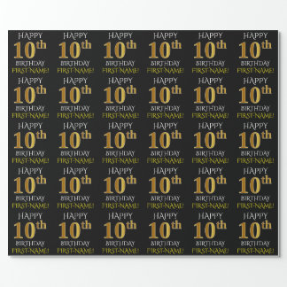 "Black, ""HAPPY 10th BIRTHDAY"" Wrapping Paper"