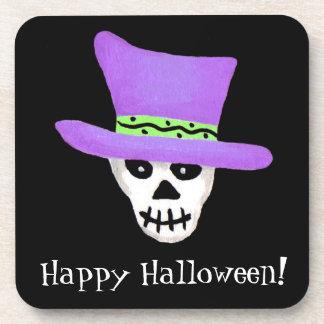 Black Happy Halloween Whimsy Skeleton Skull Drink Coaster