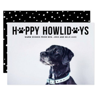 Black Happy Howlidays Bold Typography Pet Holiday Card