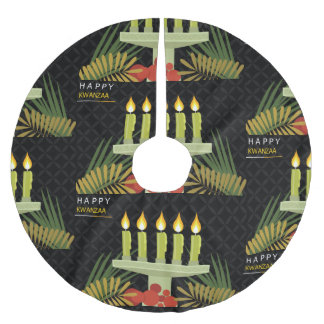 black happy kwanzaa christmas tree skirt