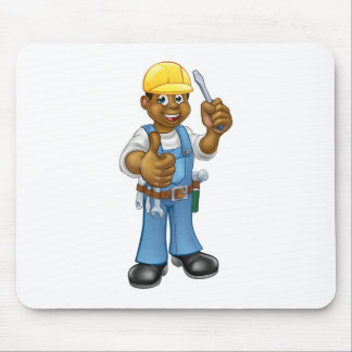 Black Hard Hat Electrician Screwdriver Mouse Pad