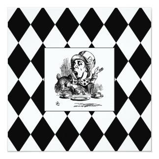 Black Harlequin Blank Mad Hatter Square card