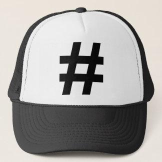 black hash number trucker hat