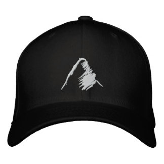 Black Hat with Embroidered White Logo Embroidered Baseball Caps