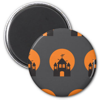 Black haunted house, bats for Halloween 6 Cm Round Magnet