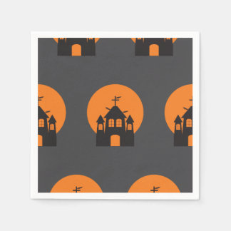 Black haunted house, bats for Halloween Disposable Napkins