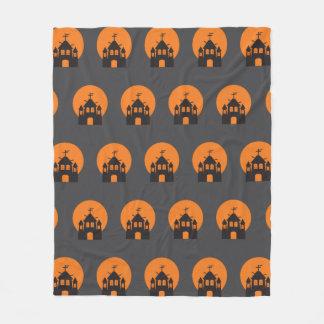 Black haunted house, bats for Halloween Fleece Blanket