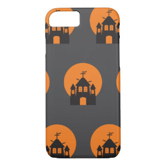 Black haunted house, bats for Halloween iPhone 7 Case