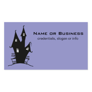 Black Haunted House on Purple Background Business Card Template