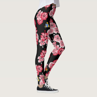 Black Hawaiian Multi2 Penguins Leggings