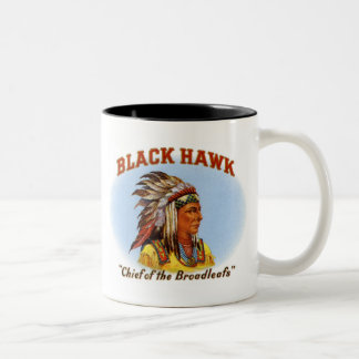 Black Hawk Chief of the Broadleafs Cigar Label Two-Tone Coffee Mug