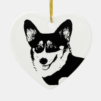Black Headed Tricolor Welsh Corgi Ceramic Ornament