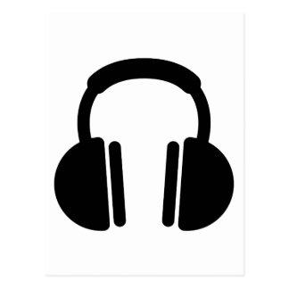 Black headphones postcard