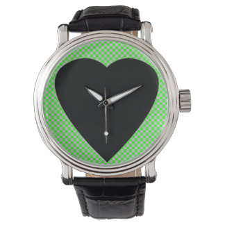 black heart and green watch