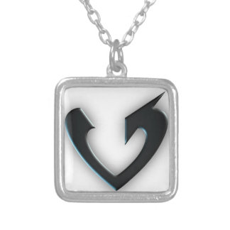 Black Heart Arrow Silver Plated Necklace