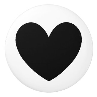Black Heart Ceramic Knob