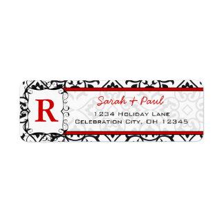 Black Heart Damask Red Font Return Address Label