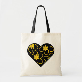 Black Heart / Gold Flowers Tote Bag