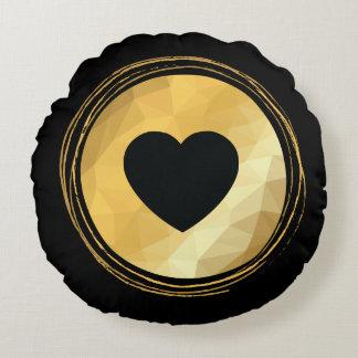 Black heart,golden geometric round pillow
