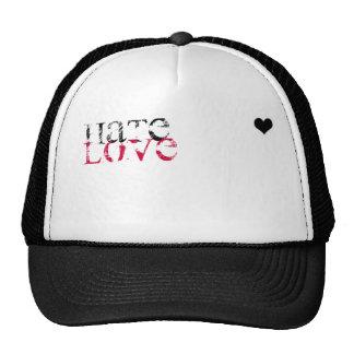 black heart..=], hate, love mesh hats