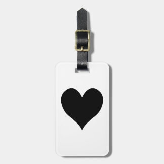 Black Heart Mr. and Mrs. Calligraphy Name Design Luggage Tag