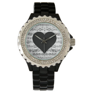 Black Heart Music Note Watch
