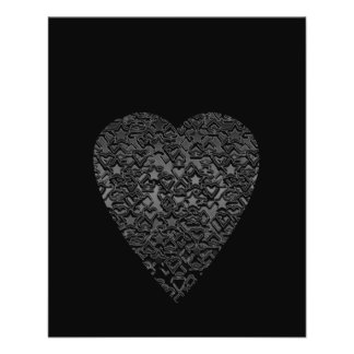 Black Heart. Patterned Heart Design. 11.5 Cm X 14 Cm Flyer