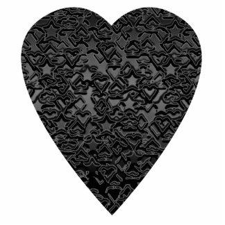 Black Heart. Patterned Heart Design. Photo Sculpture Decoration