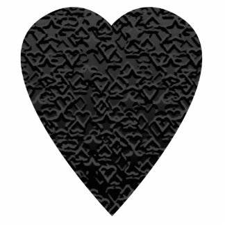 Black Heart. Patterned Heart Design. Photo Sculpture Key Ring