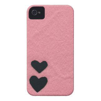 Black heart pink area (felt wind) iPhone 4 Case-Mate case