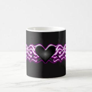 Black Heart Pink flames Coffee Mug
