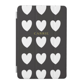 Black Heart Stripe iPad Mini Cover Personalized