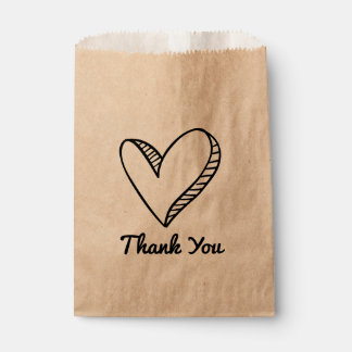Black Heart Thank You Wedding / Party Favour Bag