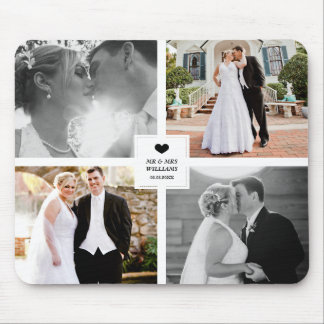 Black Heart Wedding Photo Collage Mouse Pad