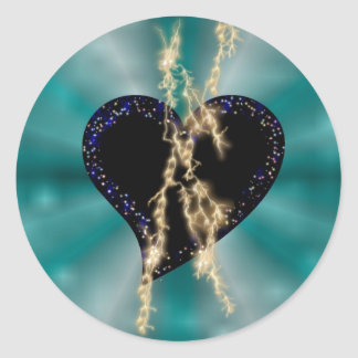 black heart with asterisks and lightning on green round sticker