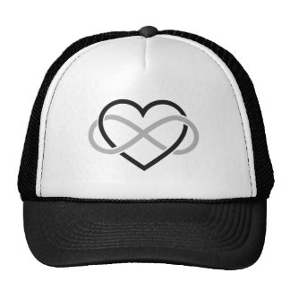Black heart with infinity sign trucker hats