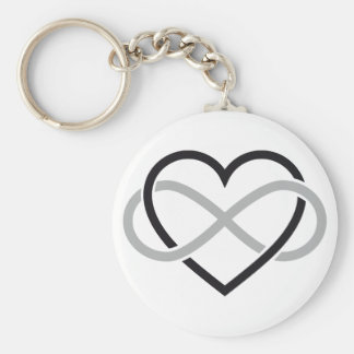 Black heart with infinity sign key ring