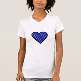 Black Heart with Polka Dots on Blue Background T-shirts